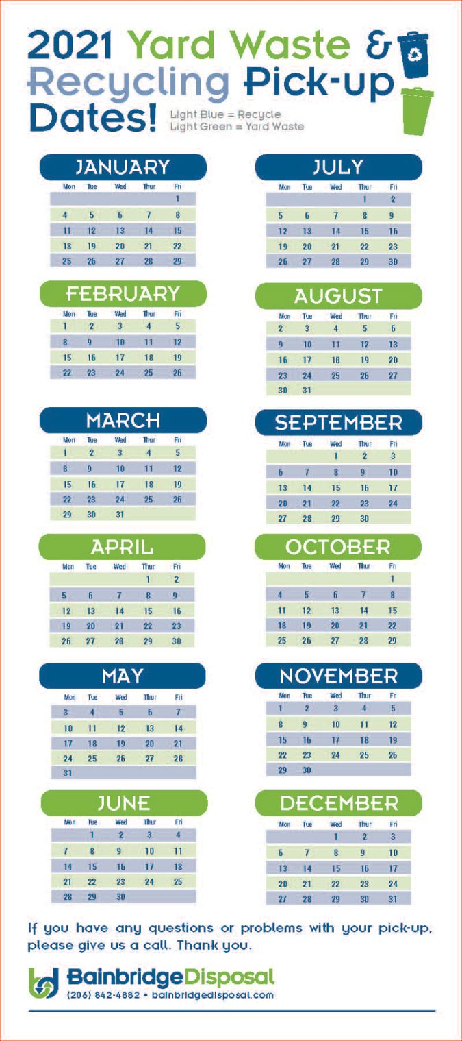 2021 Recycling Calendar